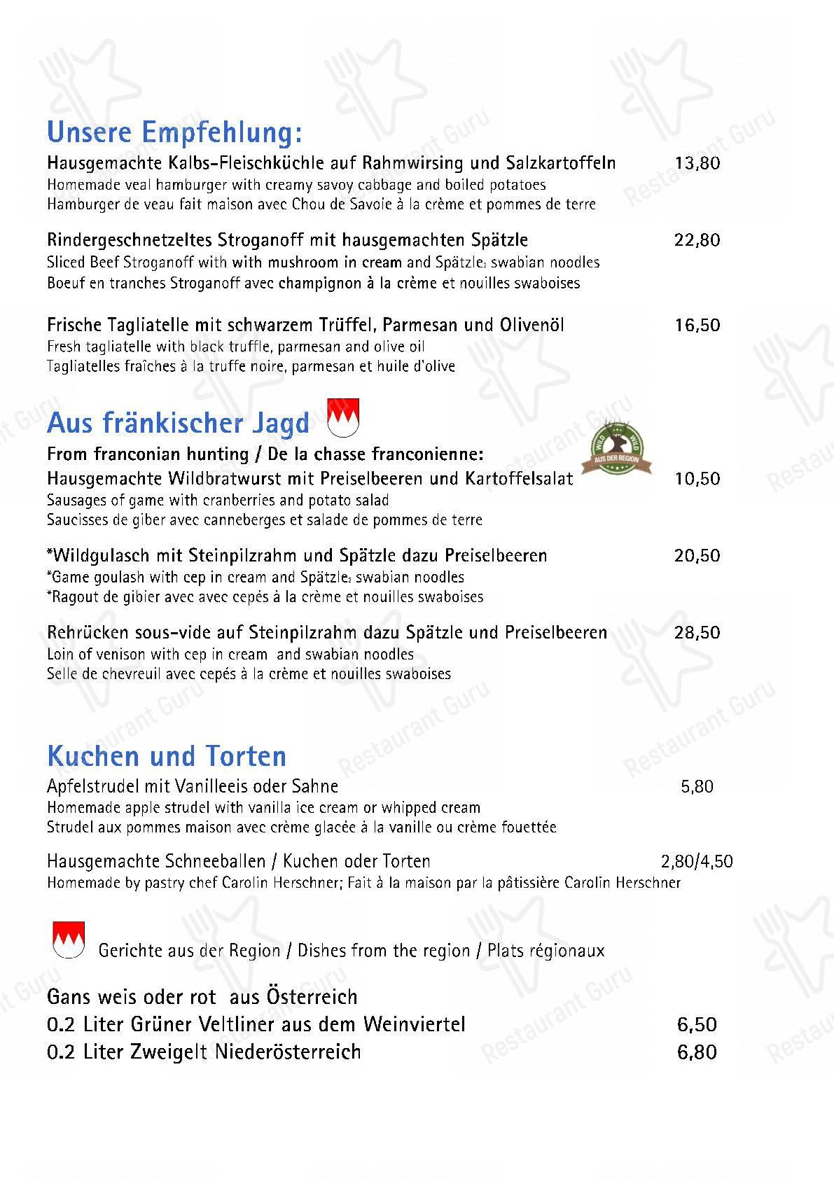 Seht euch die Speisekarte von Hotel Reichsküchenmeister, das Herz von Rothenburg an