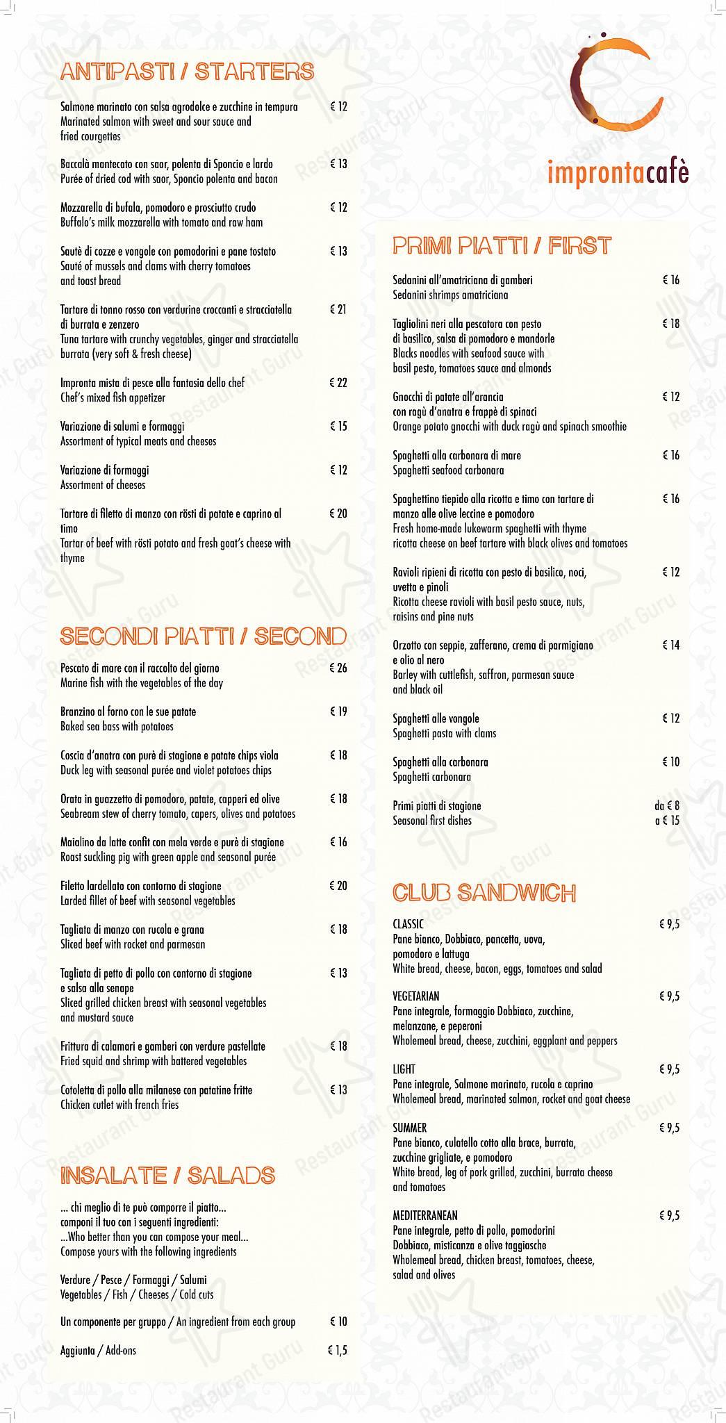 Impronta menu - dishes and beverages