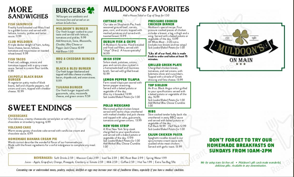 Check out the menu for Muldoon's
