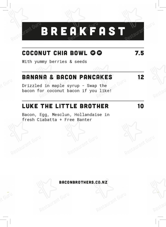 Меню Bacon Brothers - блюда и напитки