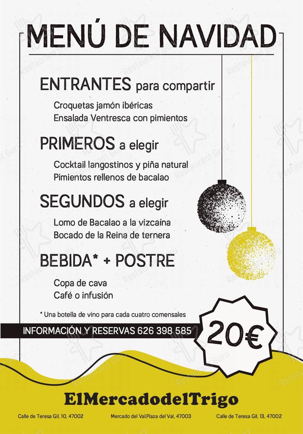 Carta de El Mercado Del Trigo restaurante