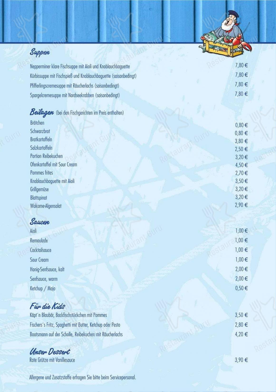 Carta de Nepperminer Fischpalast - platos y bebidas