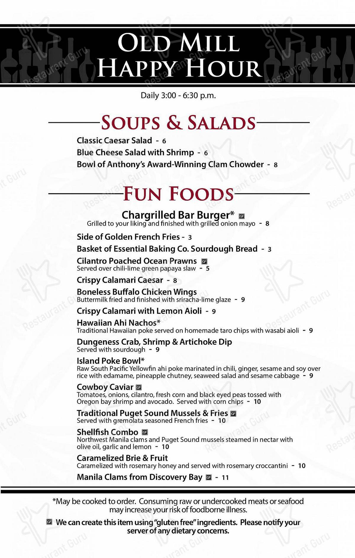 Check out the menu for Anthony's at the Old Mill District