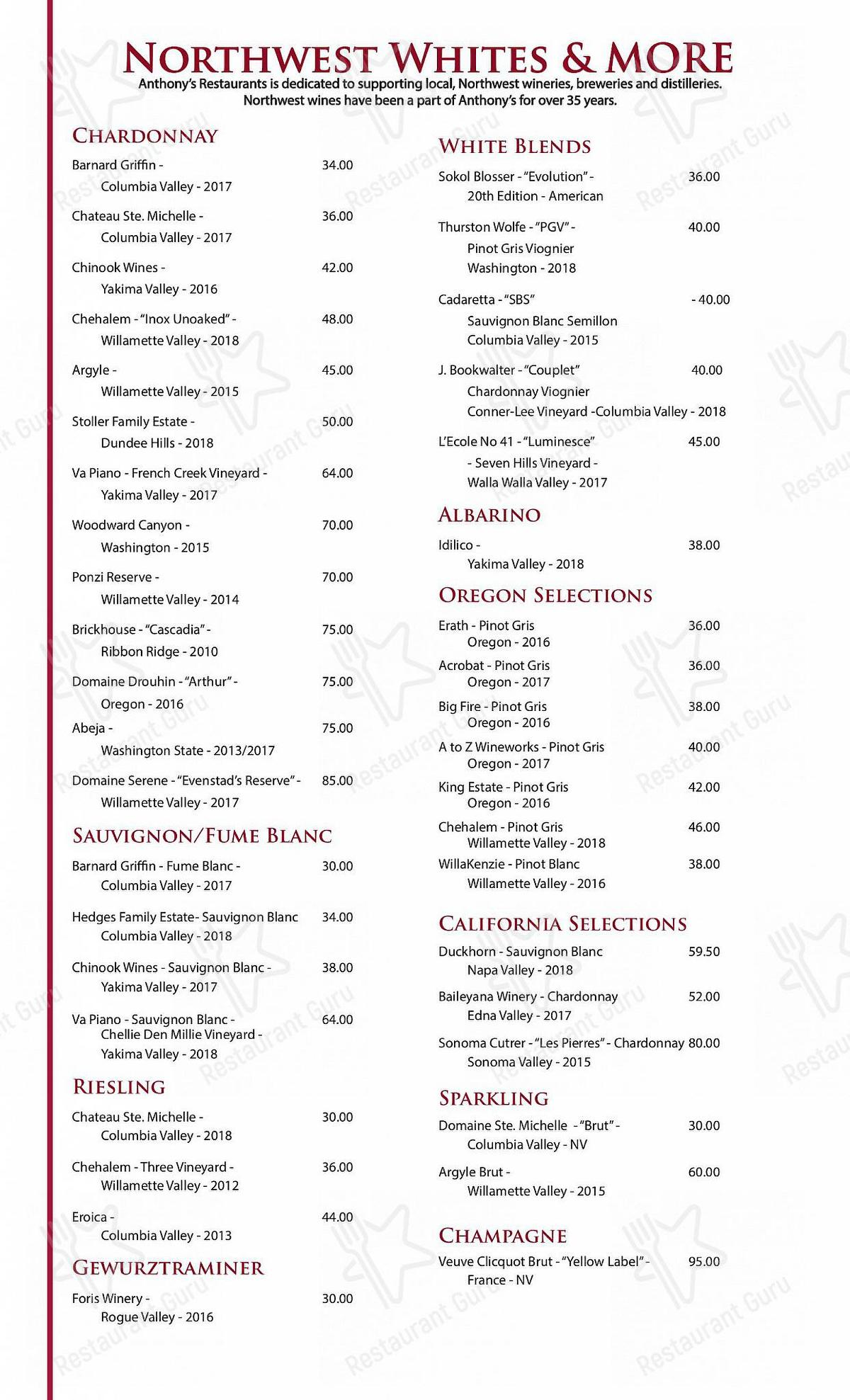 Wine Menu for Anthony's at the Old Mill District in Bend