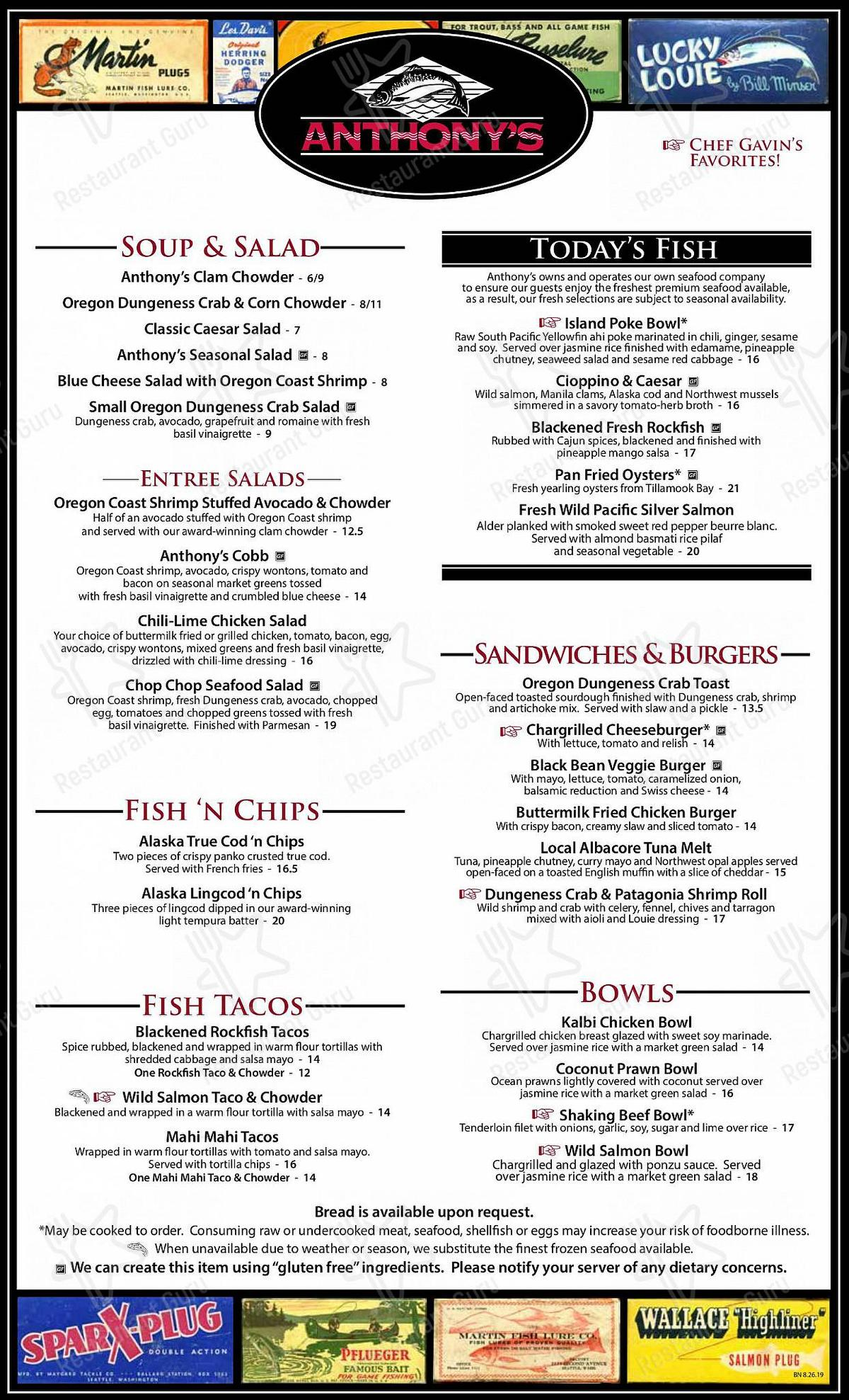 Menu for the Anthony's at the Old Mill District restaurant
