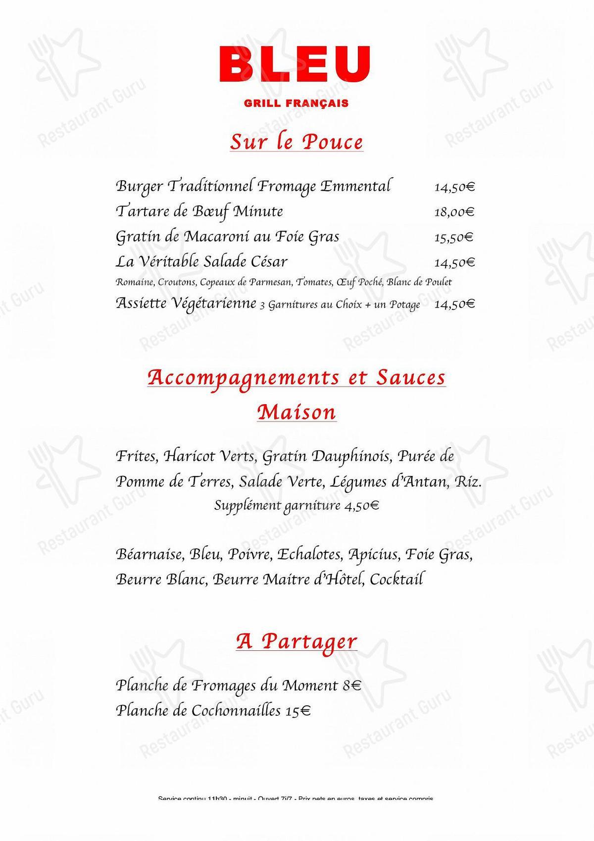 Menu pour Restaurant Bleu Grill Français - repas et boissons