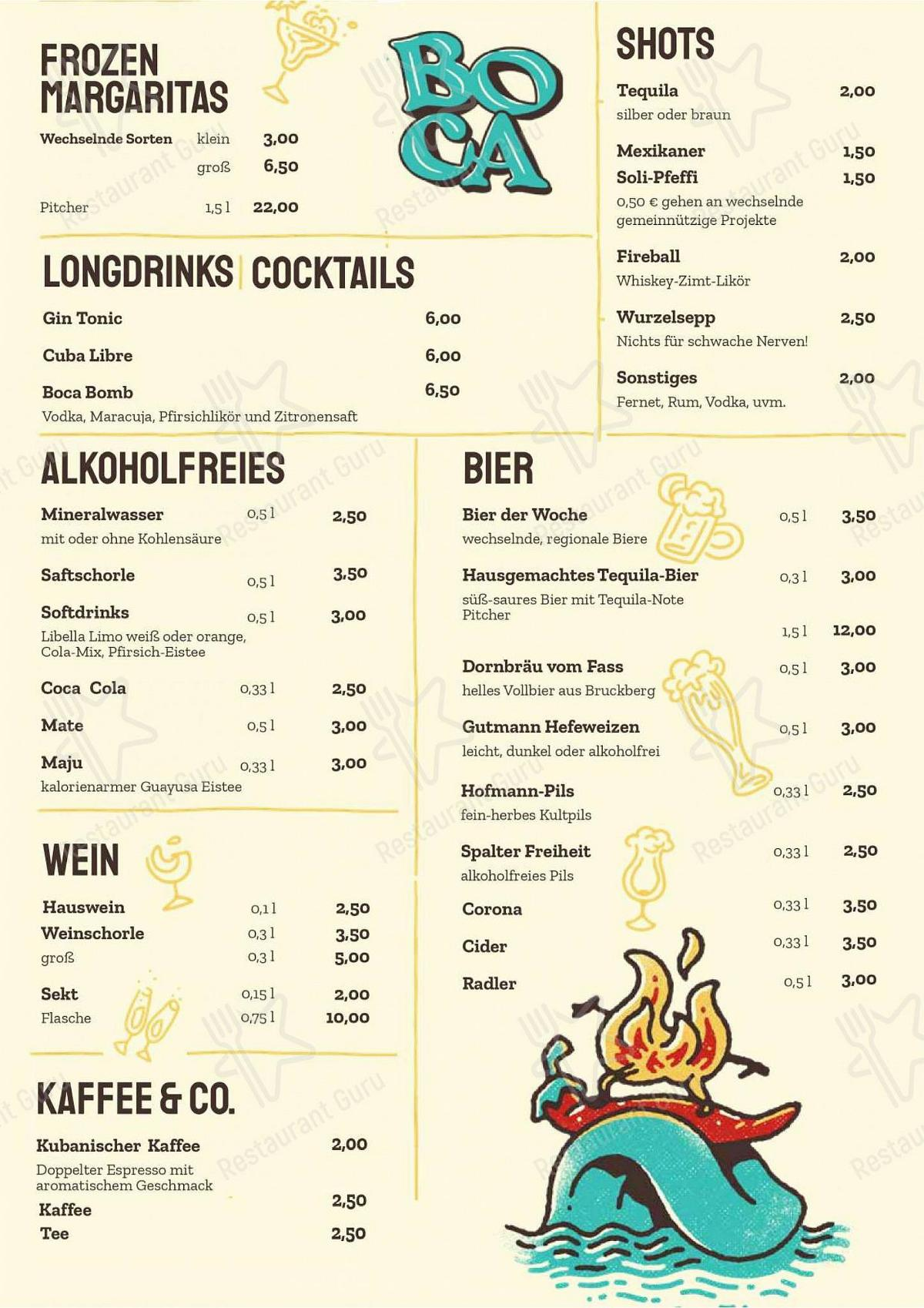 BOCA menu - meals and drinks
