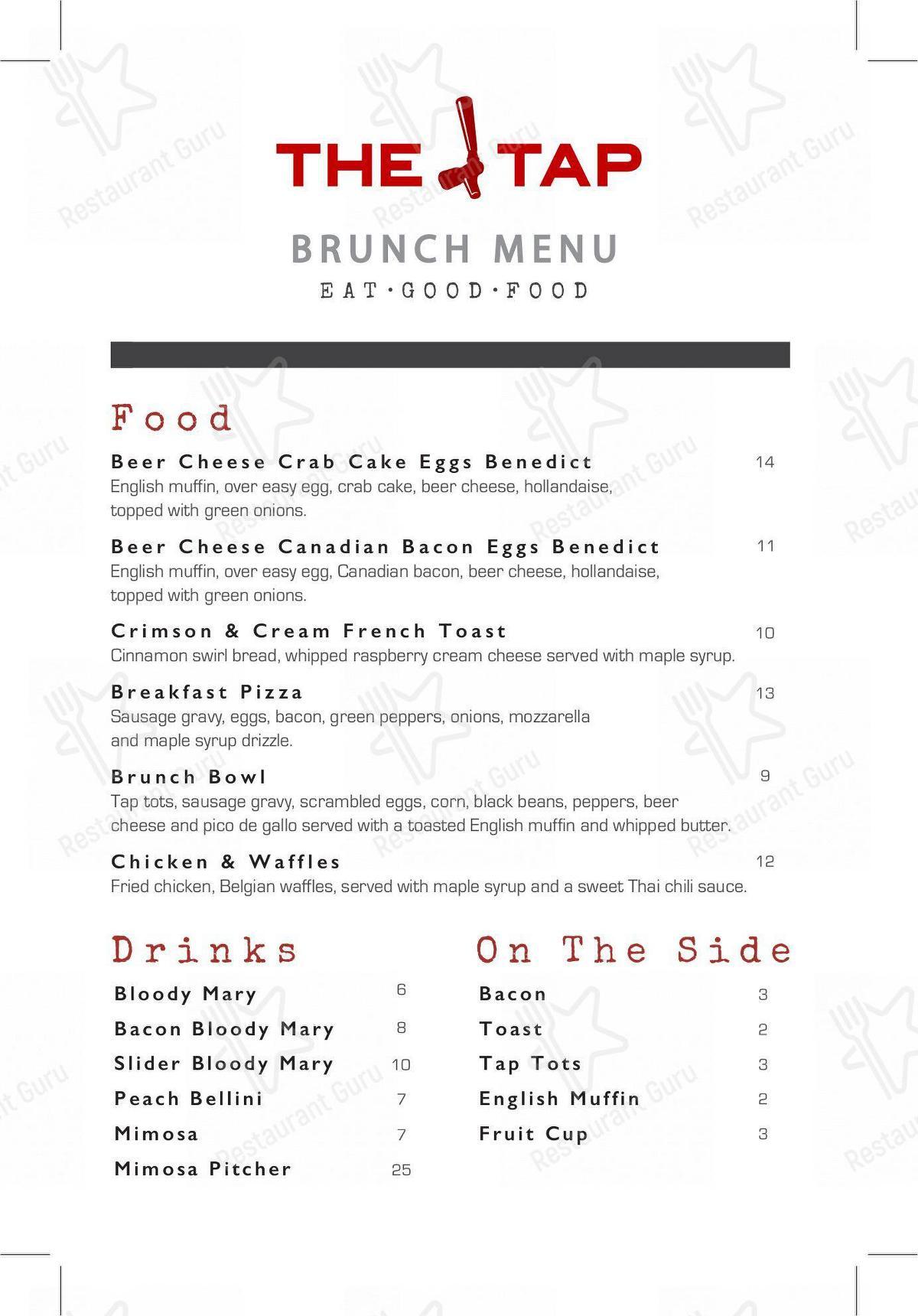 Food-Menu for the Bier Brewery & Tap Room pub & bar
