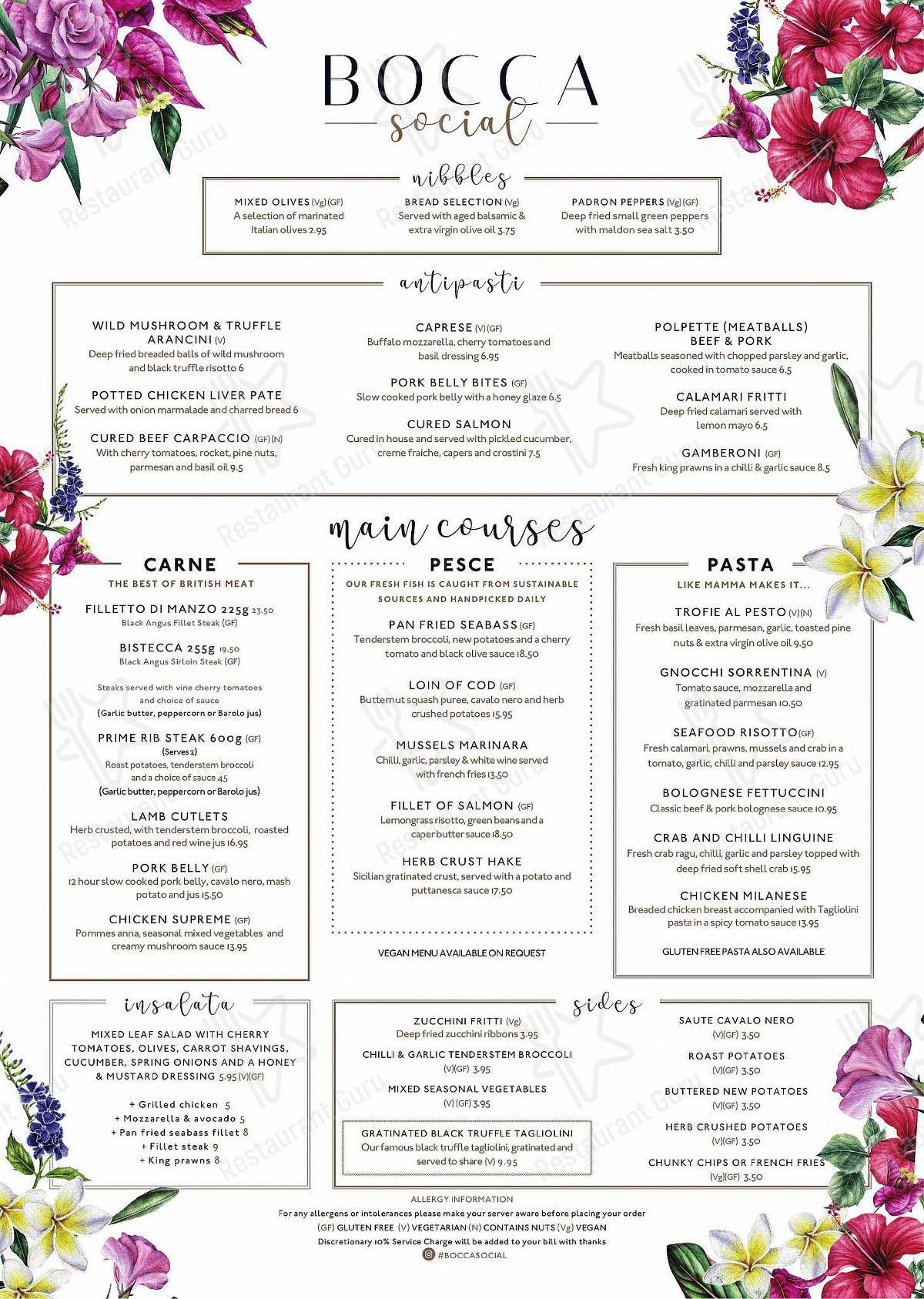 Menu for the Bocca Social restaurant