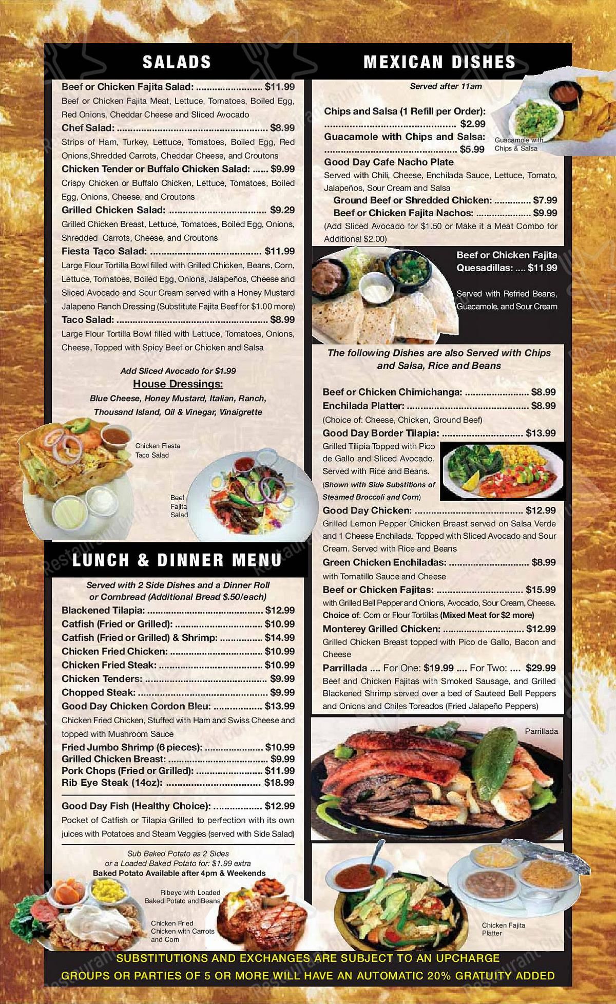 Good Day Cafe menu - meals and drinks