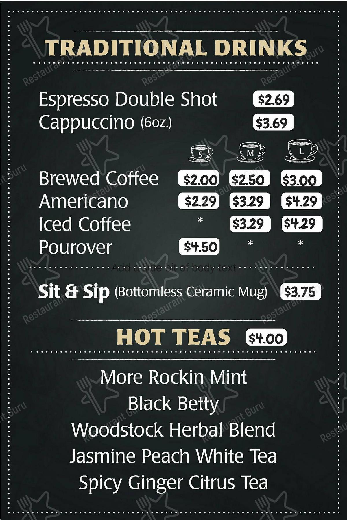 Classic Rock Coffee Co. & Kitchen menu - meals and drinks