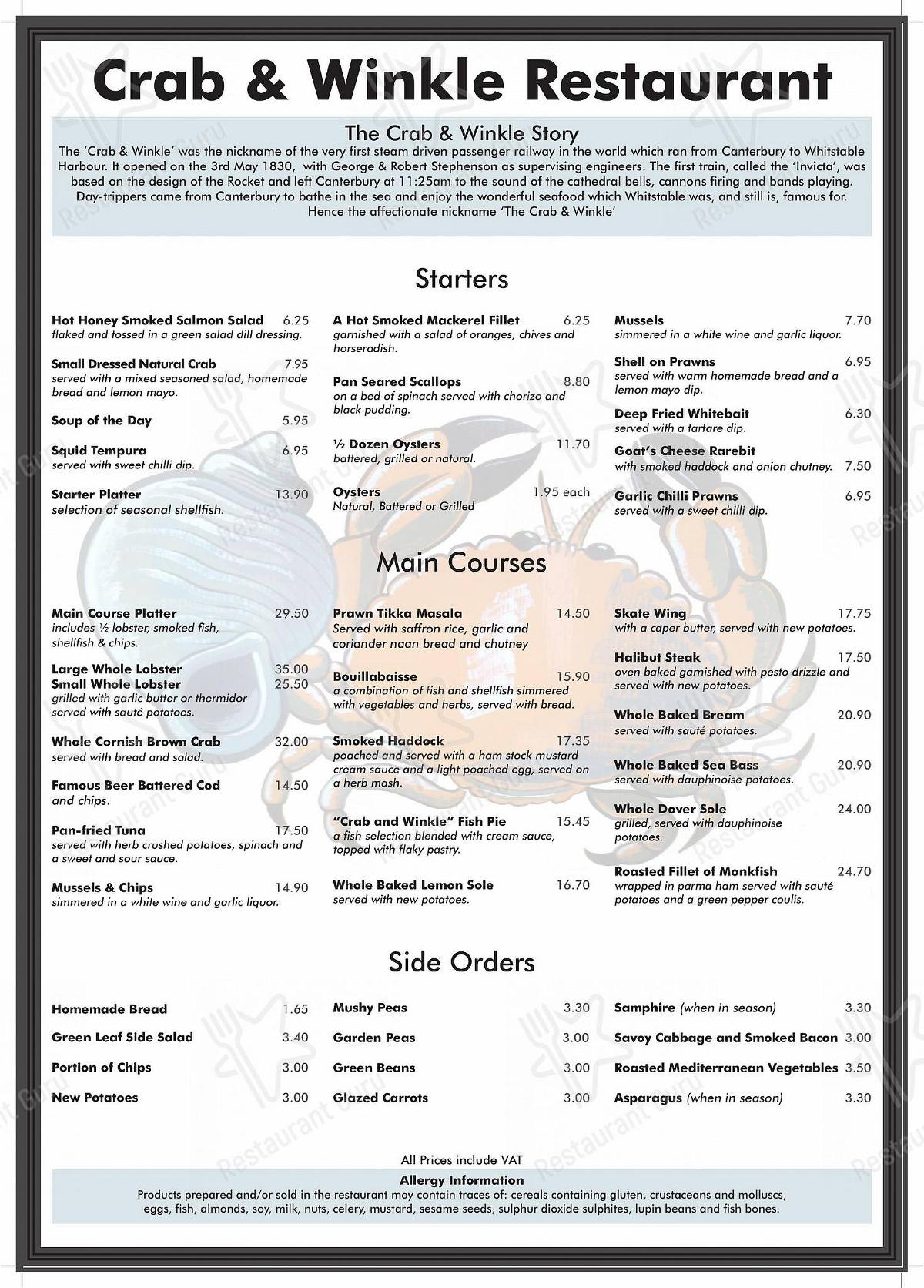 Check out the menu for Crab & Winkle