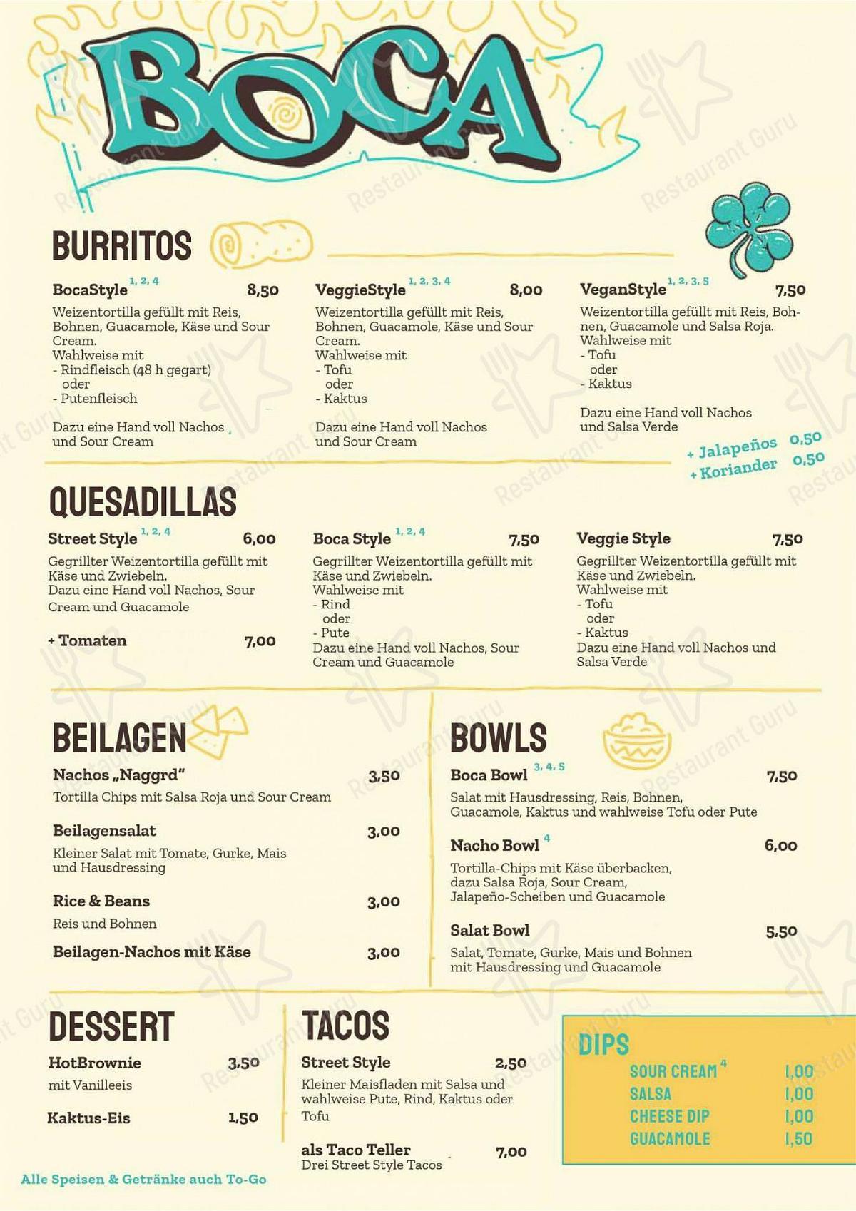 BOCA menu