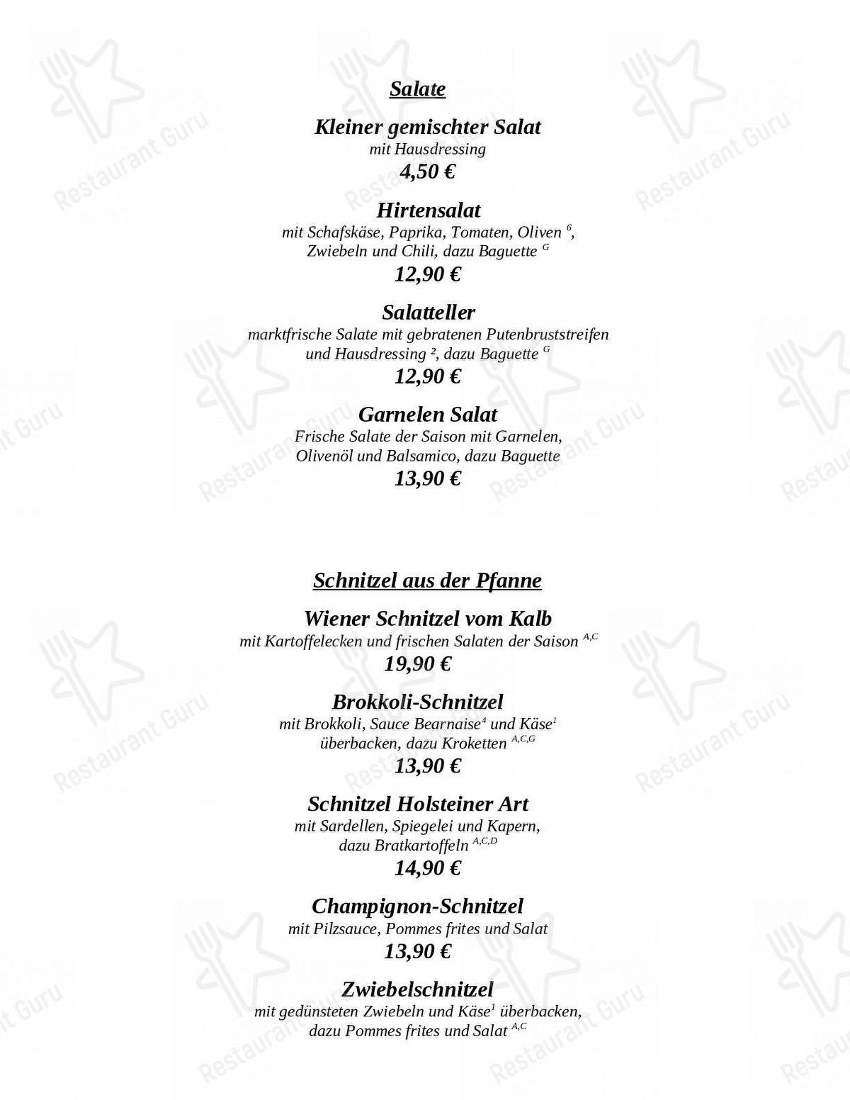 Klosterhof menu - dishes and beverages