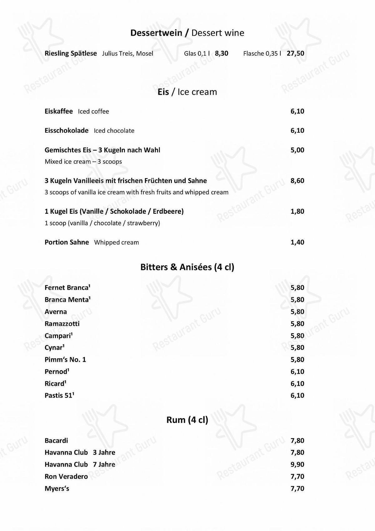 Manzini Speisekarte - Essen und Getränke