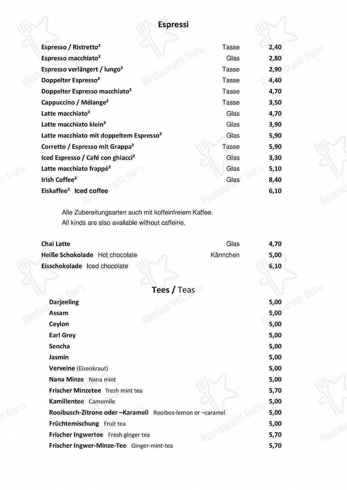 Manzini Speisekarte - Gerichte und Getränke
