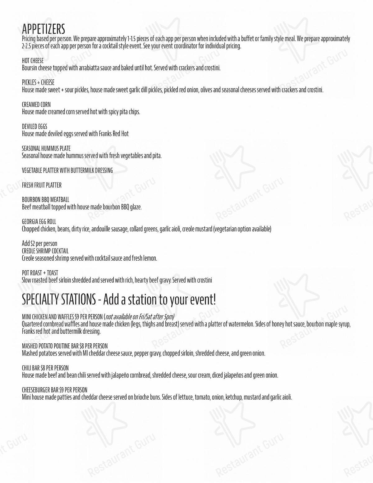 One Bourbon menu - meals and drinks