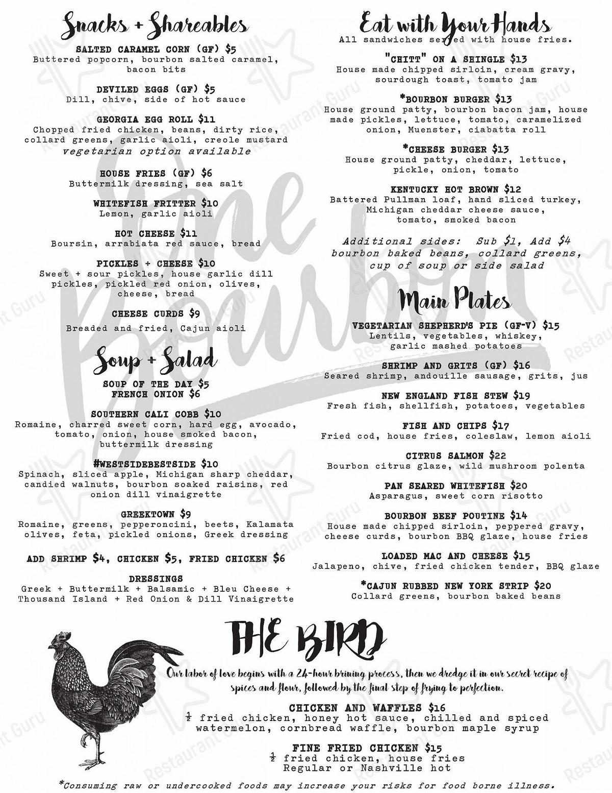 Check out the menu for One Bourbon