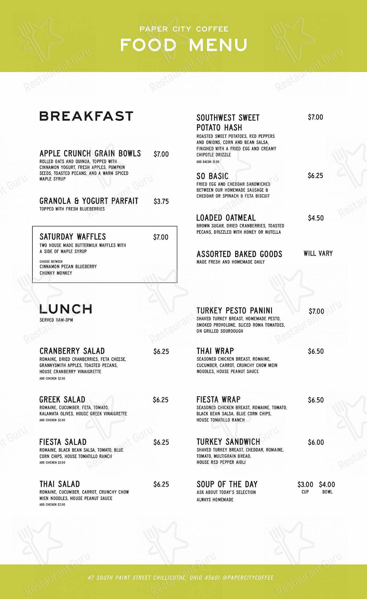 Paper City Coffee menu - meals and drinks