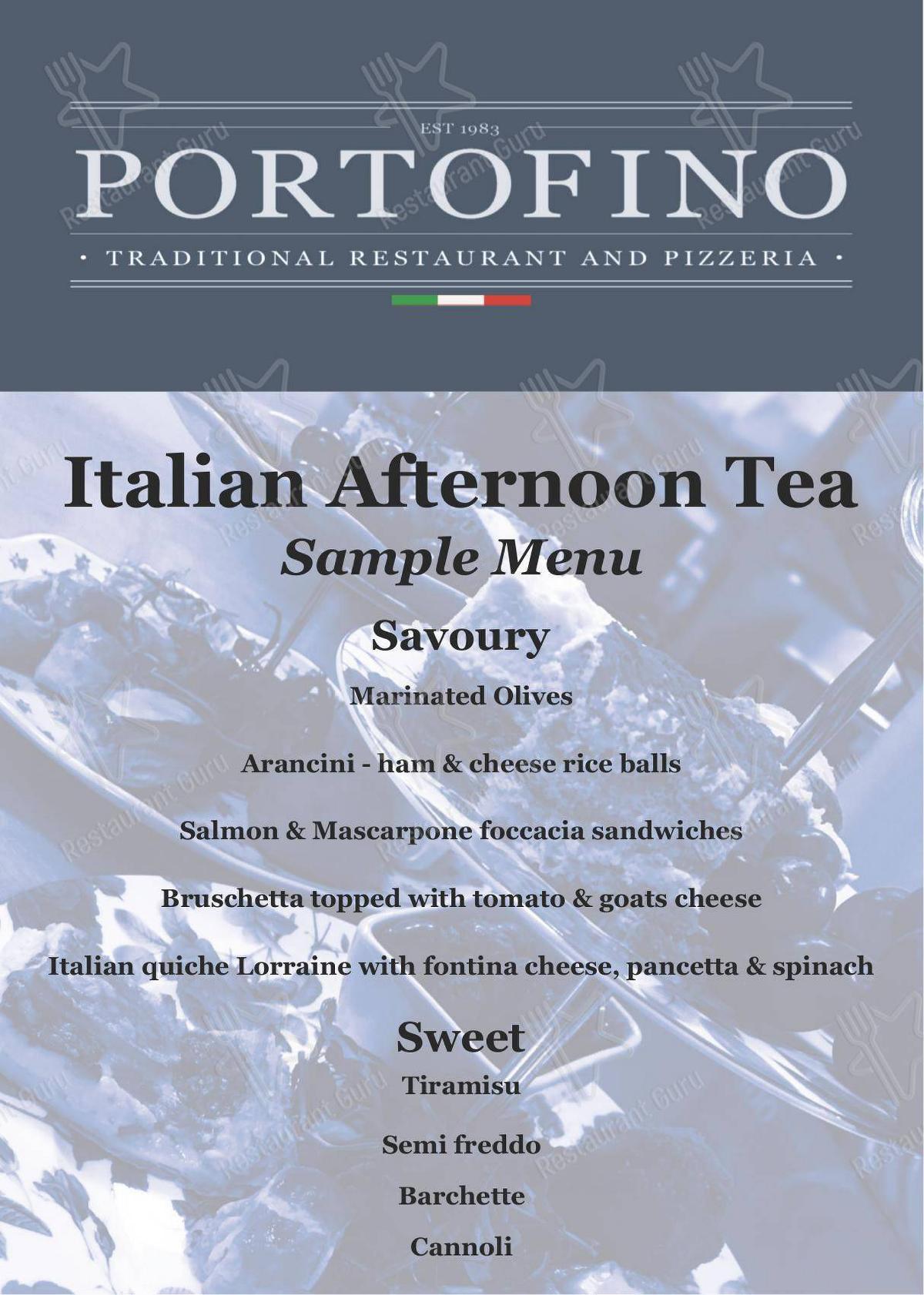 Menu for the Portofino pub & bar