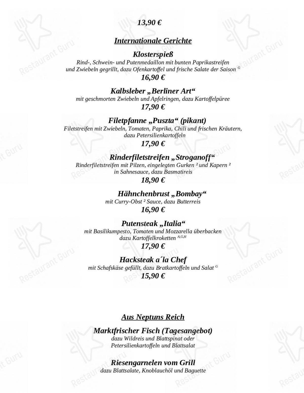 Menu for the Klosterhof restaurant