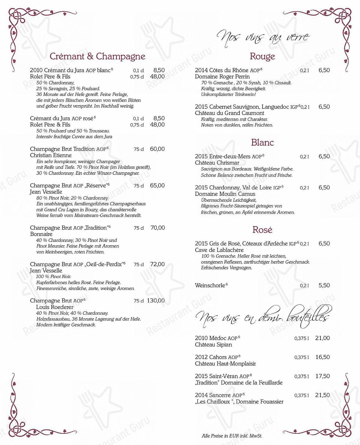 Louis Laurent menu - meals and drinks