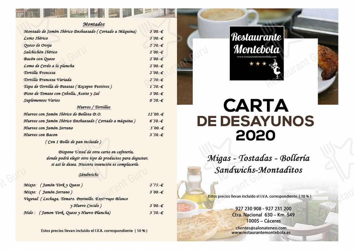 Restaurante Montebola menu