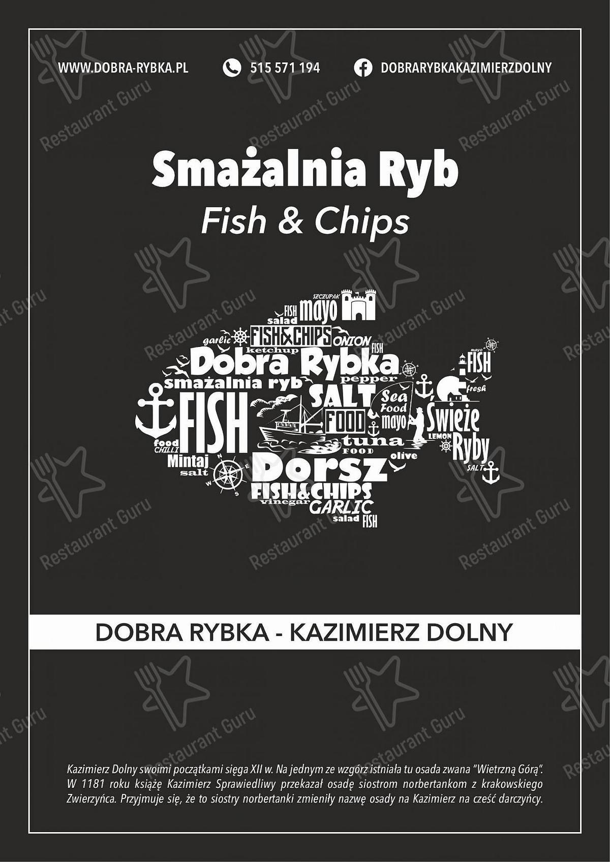 Menu for the Smażalnia Ryb Dobra Rybka Fish & Chips - Kazimierz Dolny   Obiady   Dorsz   Sandacz   Miętus   Pstrąg   Frytki belgijskie   napoje   smażona ryba restaurant