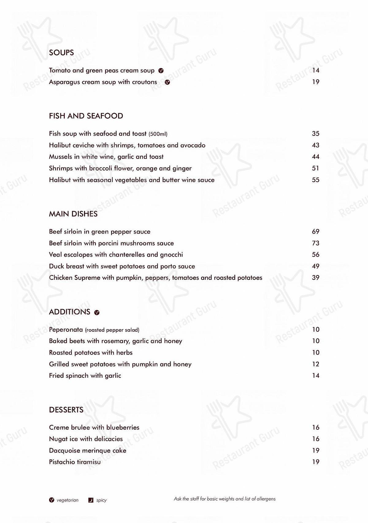 Carta de Trattoria Soprano restaurante