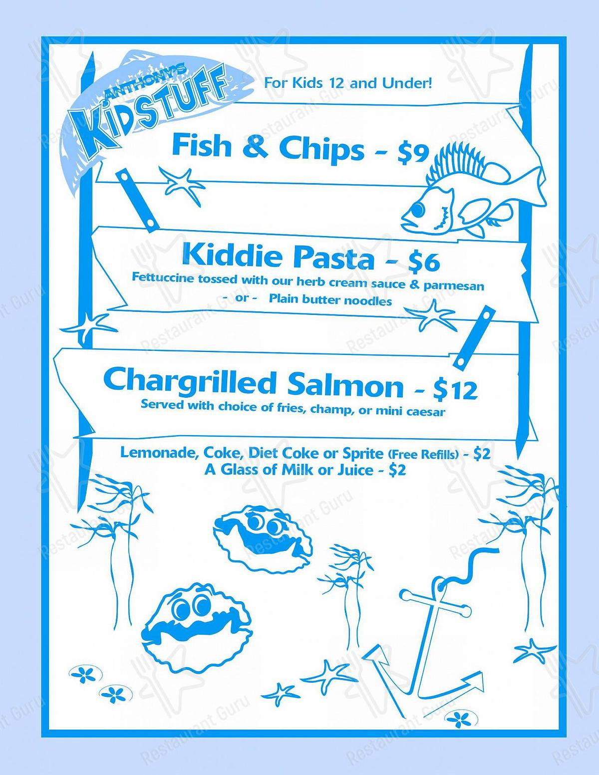 Anthony's at the Old Mill District - Kids Menu