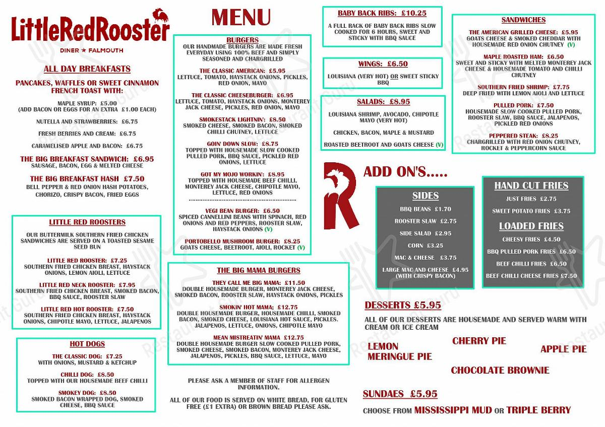 Main menu for Little Red Rooster in Falmouth