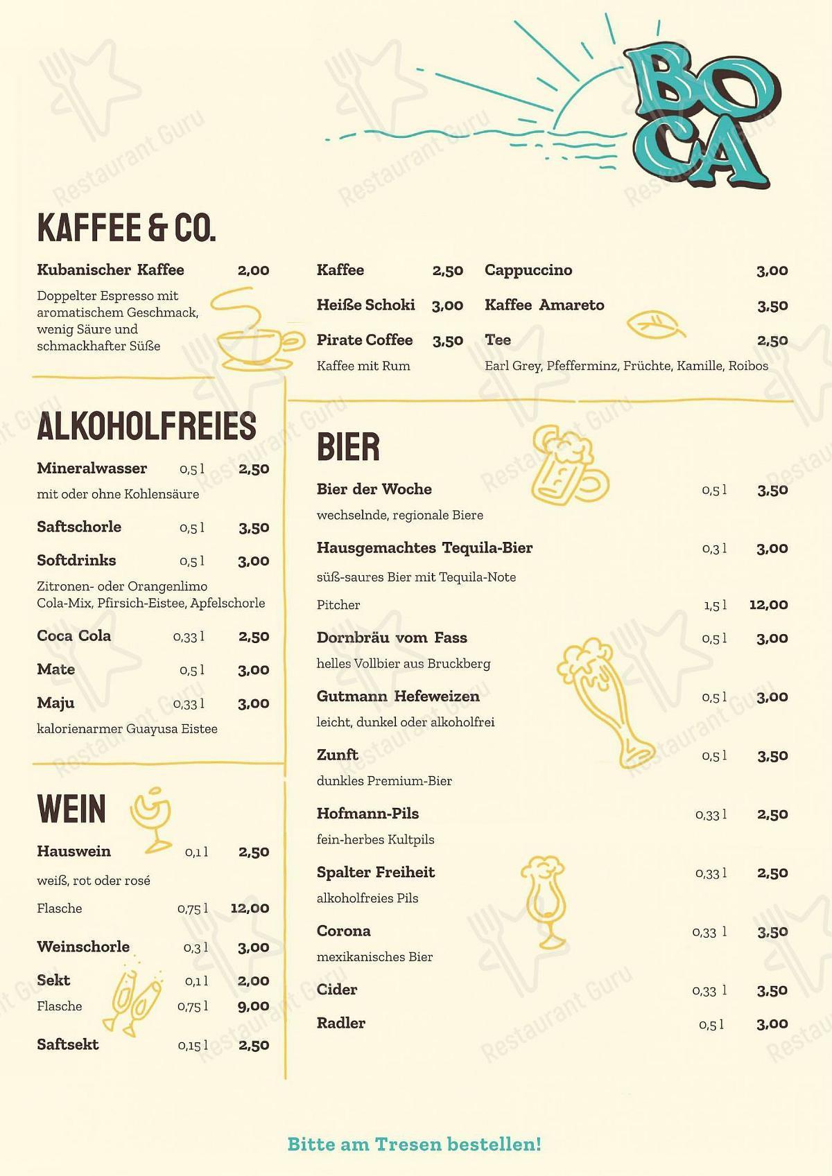 Меню BOCA - блюда и напитки