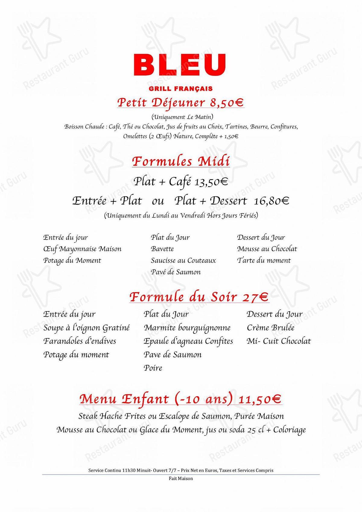 Menu pour Restaurant Bleu Grill Français bbq