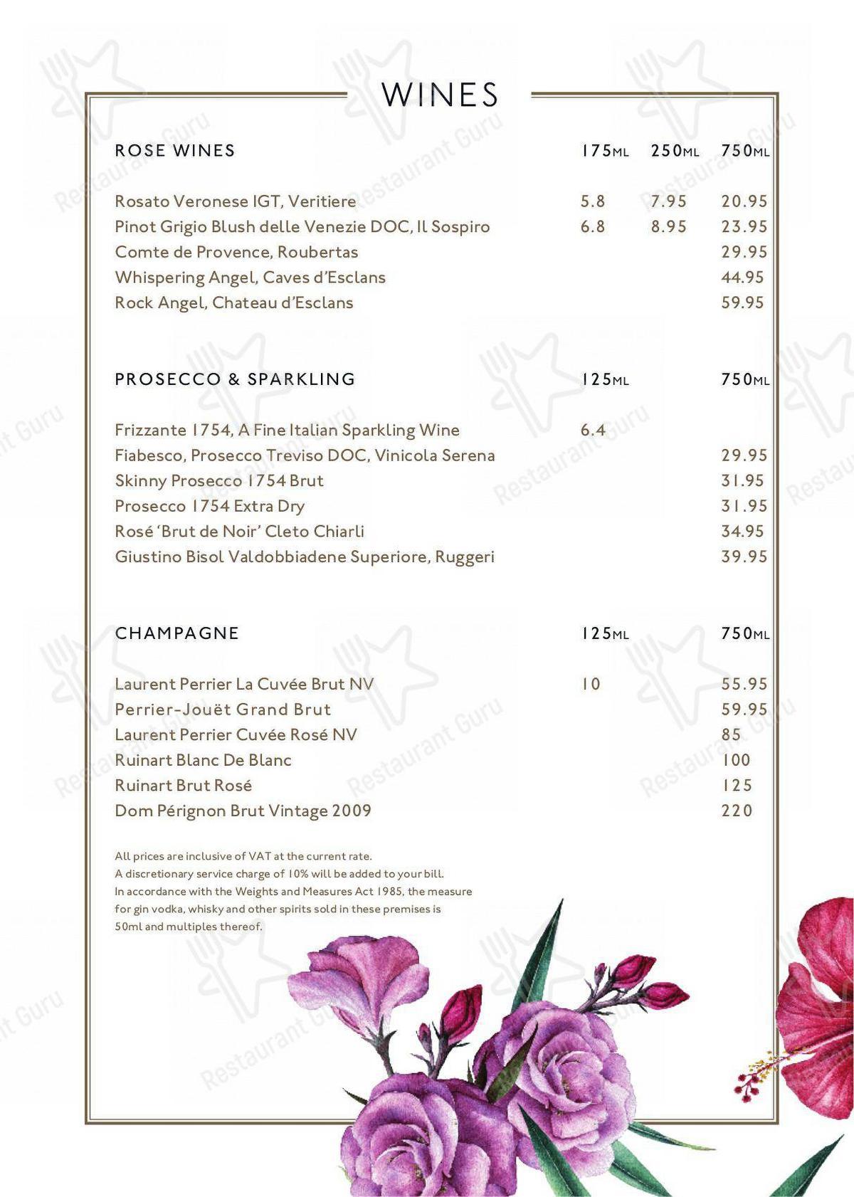 Bocca Social menu - meals and drinks