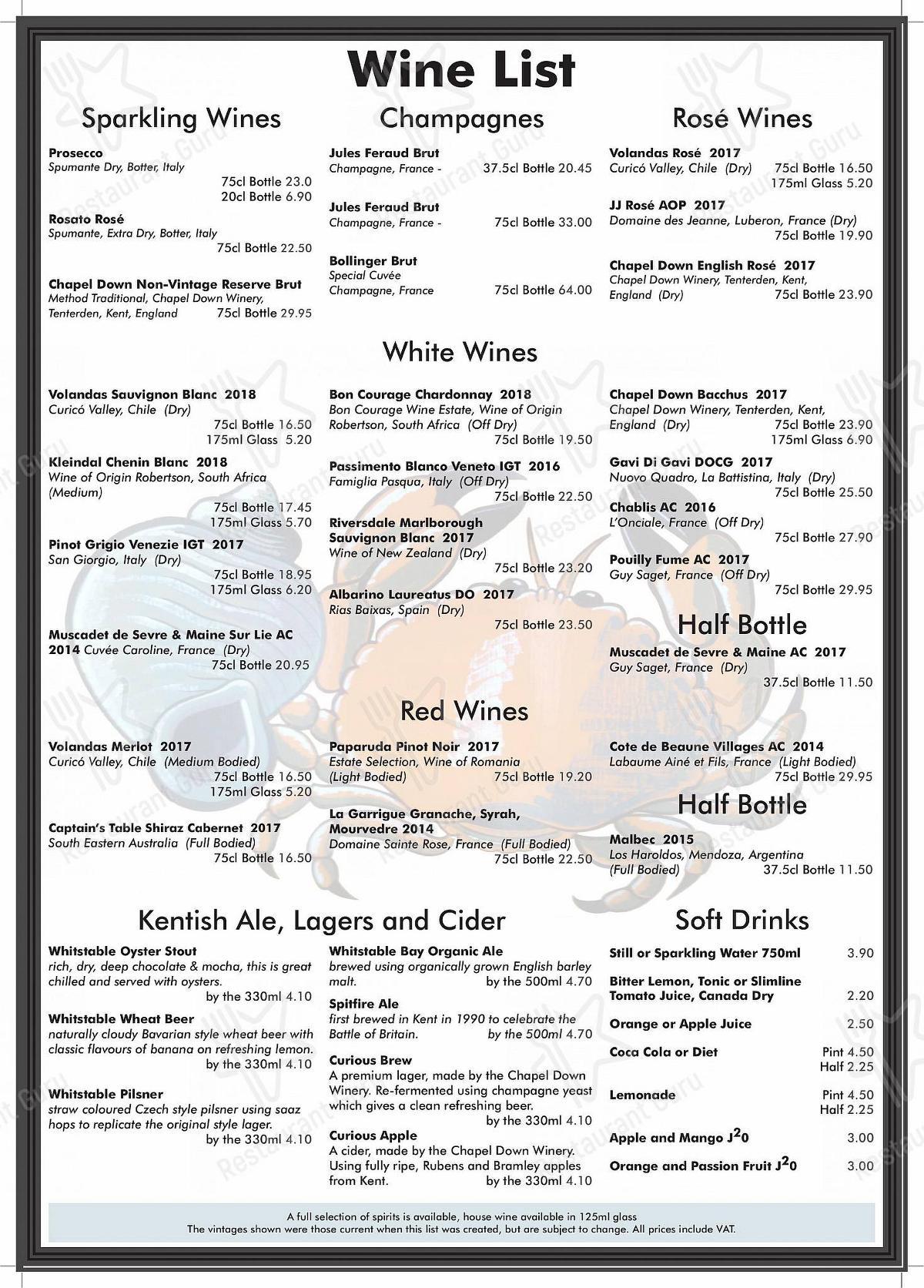 Crab & Winkle menu - meals and drinks