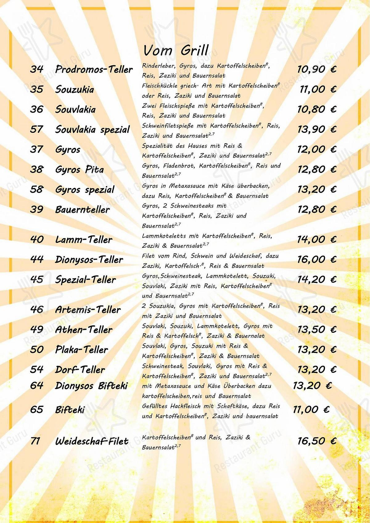 Dionysos Traube menu - dishes and beverages