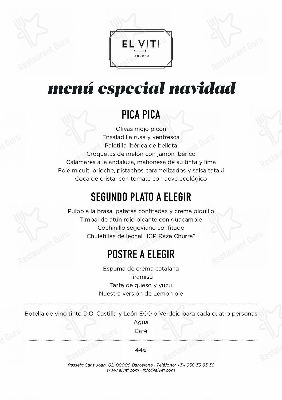 Carta de El Viti pub y bar