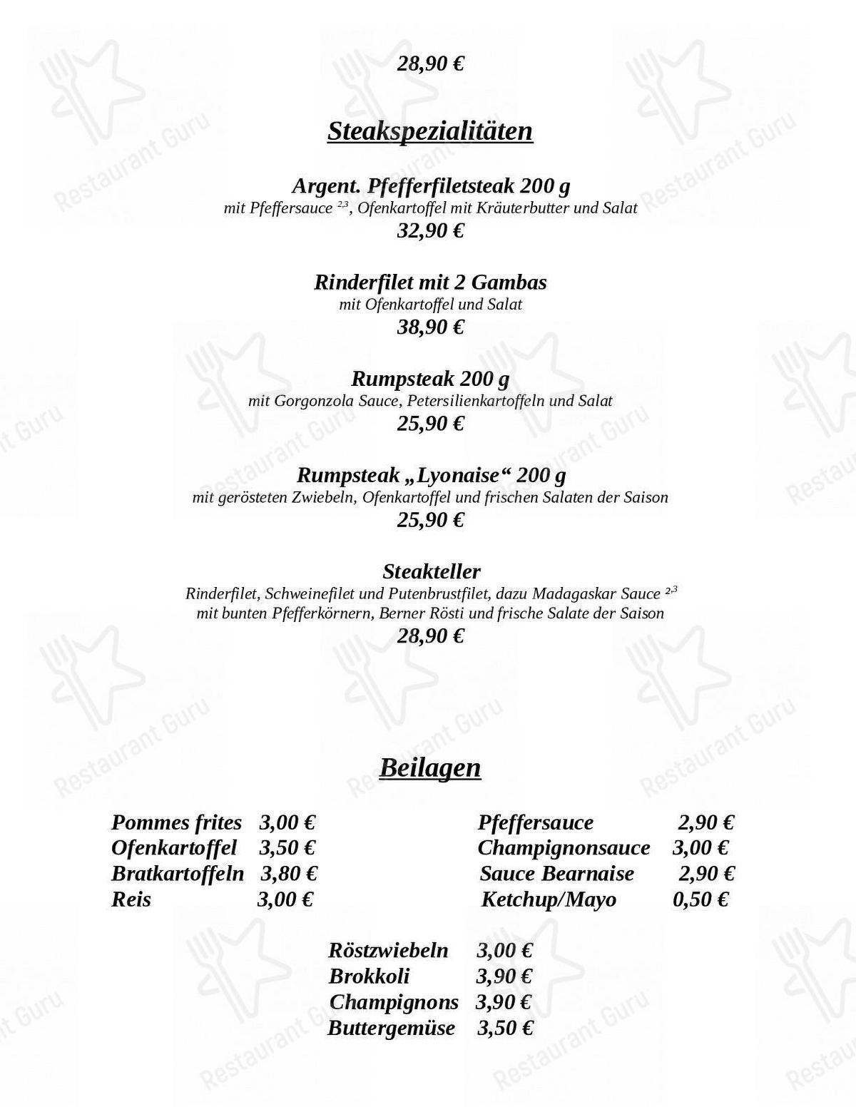Carta de Klosterhof restaurante