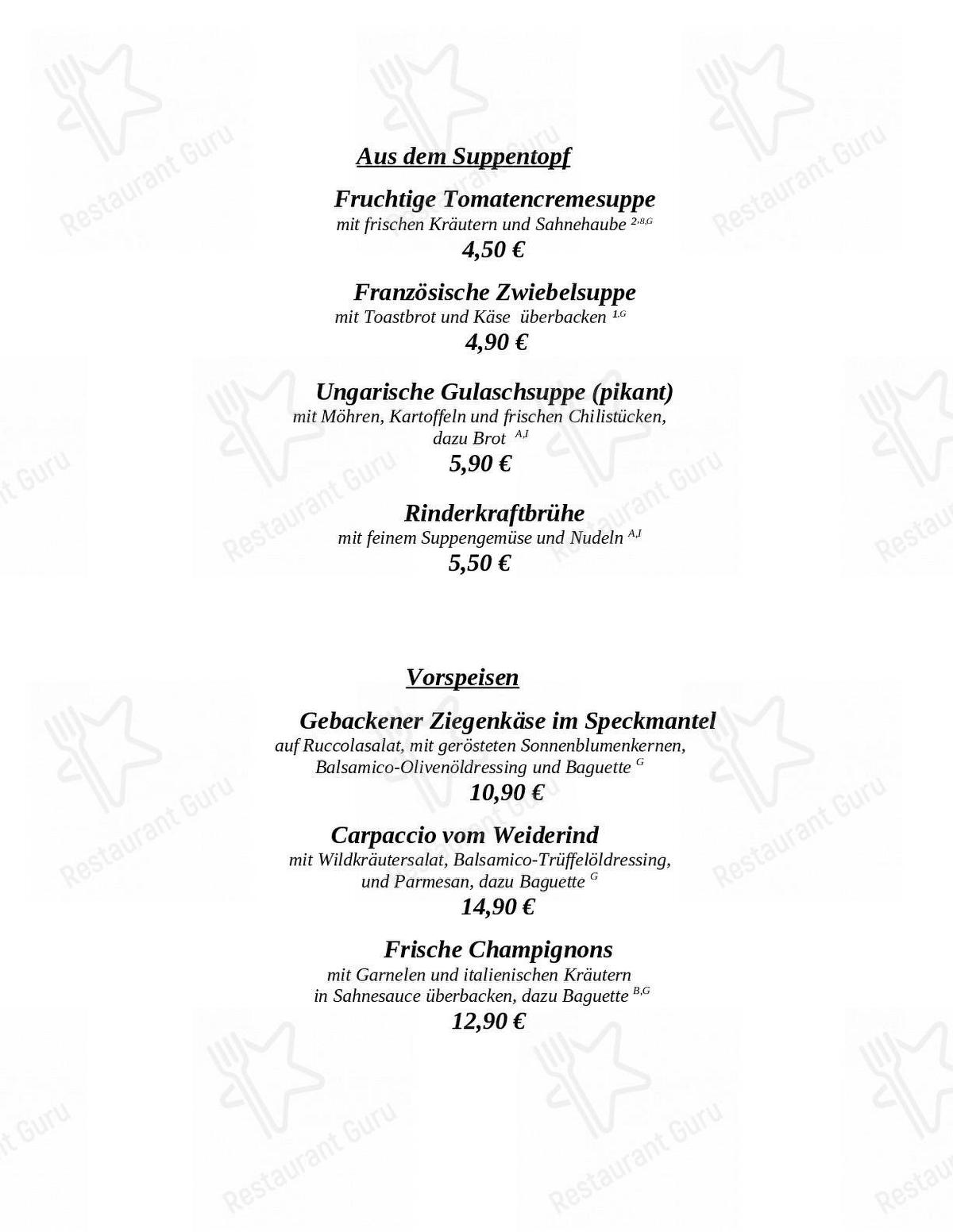 Klosterhof menu