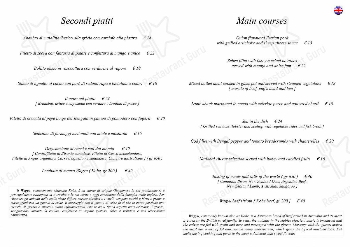 Carta de L'Antico Forziere - platos y bebidas