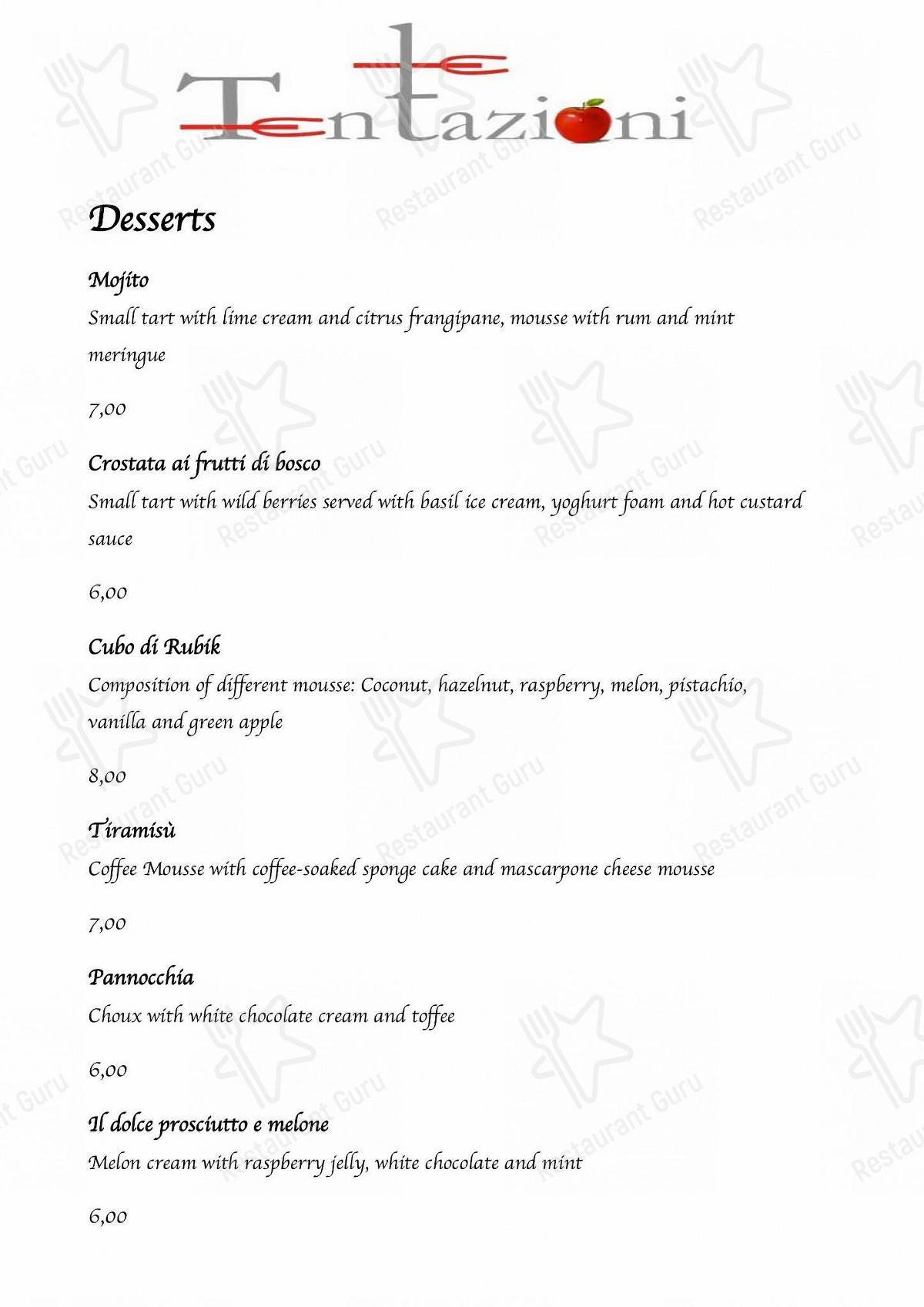 Guarda il menu di Ristorante a Caorle Le Tentazioni