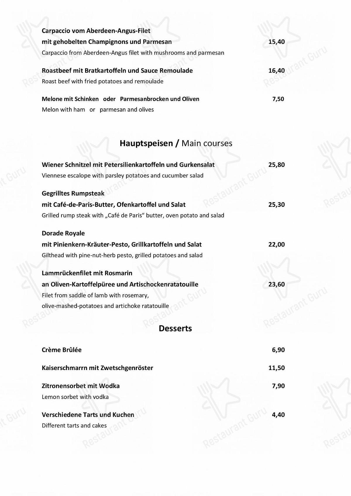 Speisekarte von Manzini restaurant