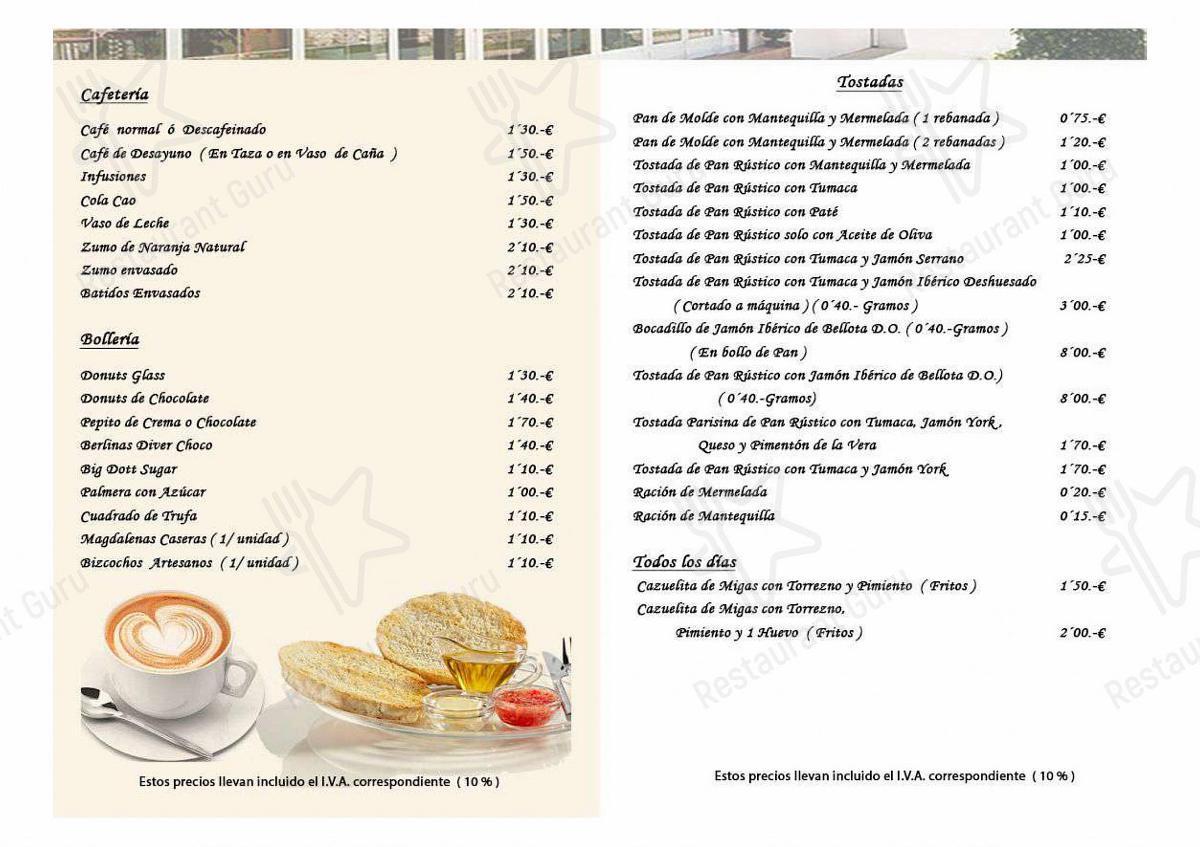 Menu for the Restaurante Montebola restaurant