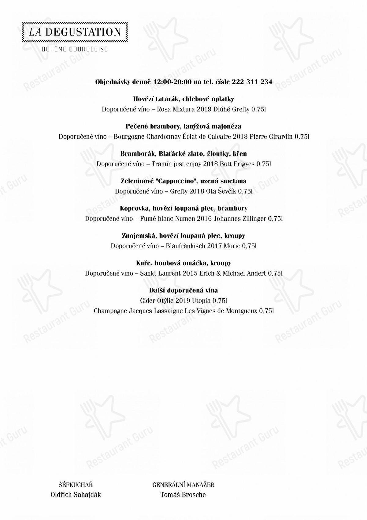 La Degustation Bohême Bourgeoise menu - dishes and beverages