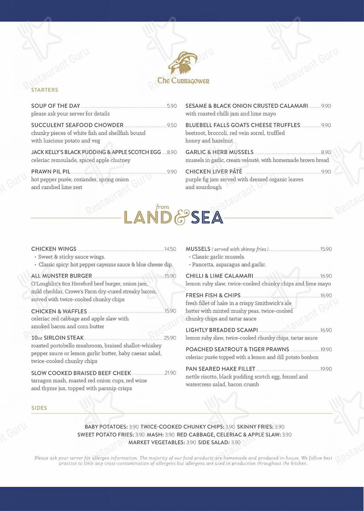 The Curragower menu - meals and drinks