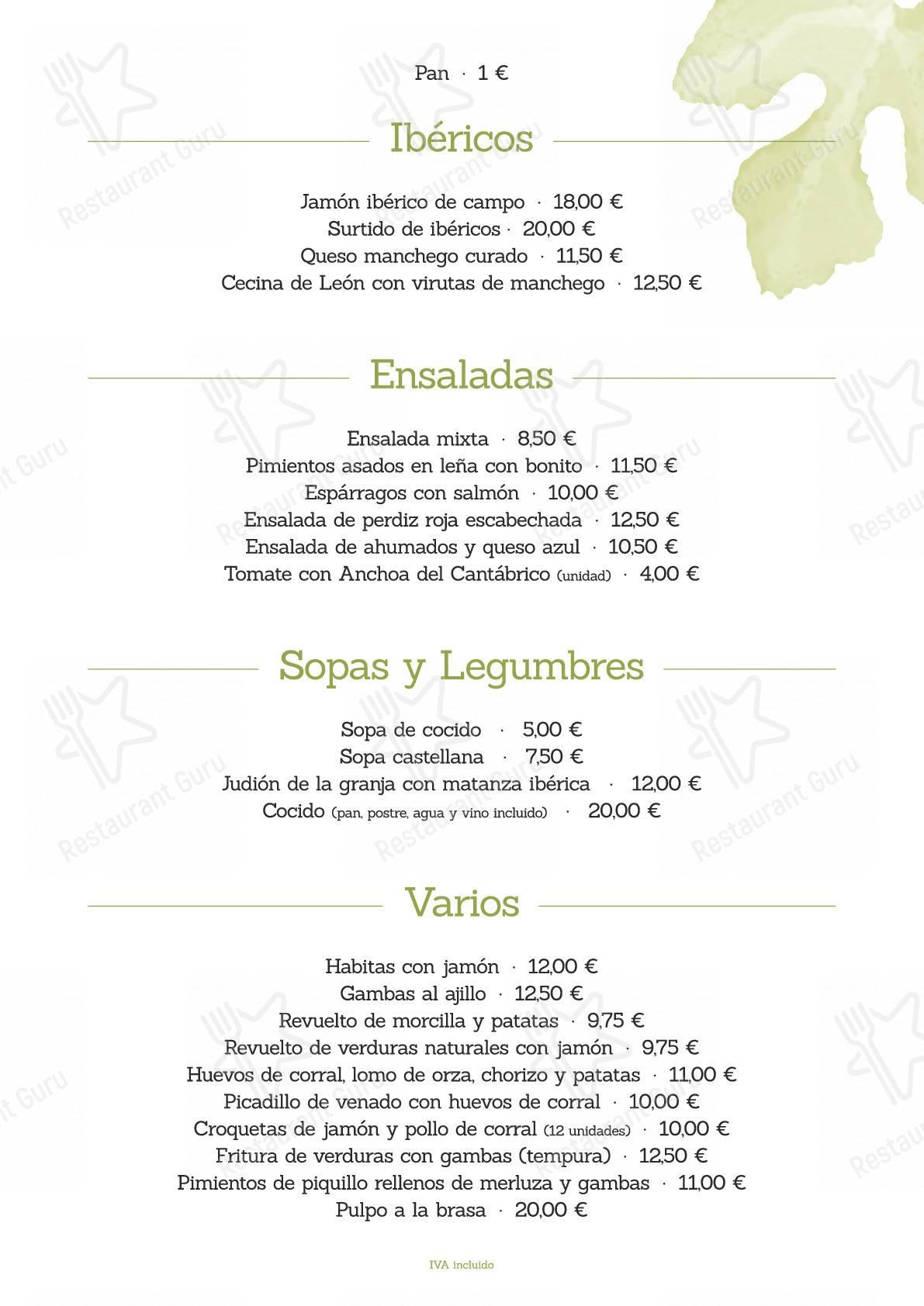 La Higuera de José menu - dishes and beverages