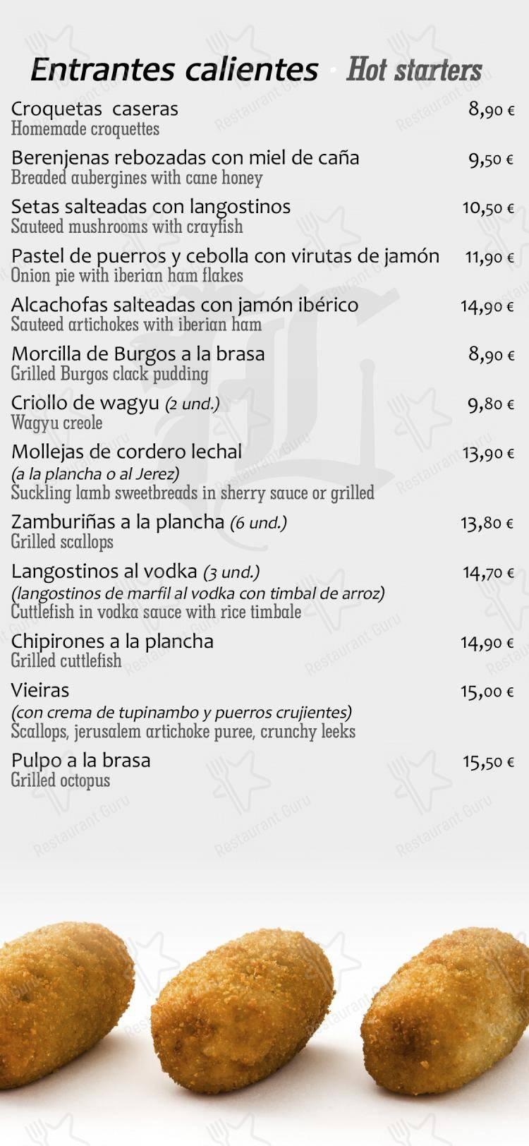 Los Robles de León menu