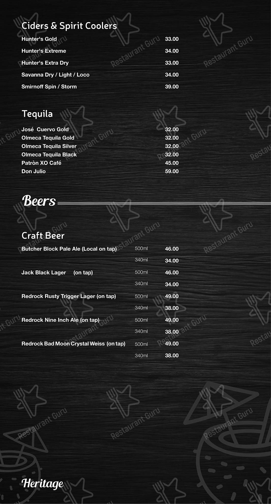 Menu for the Mike's Kitchen restaurant