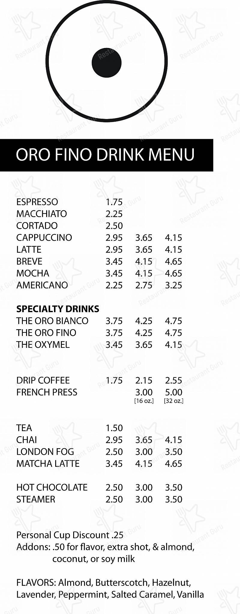 Oro Fino Coffee menu - meals and drinks