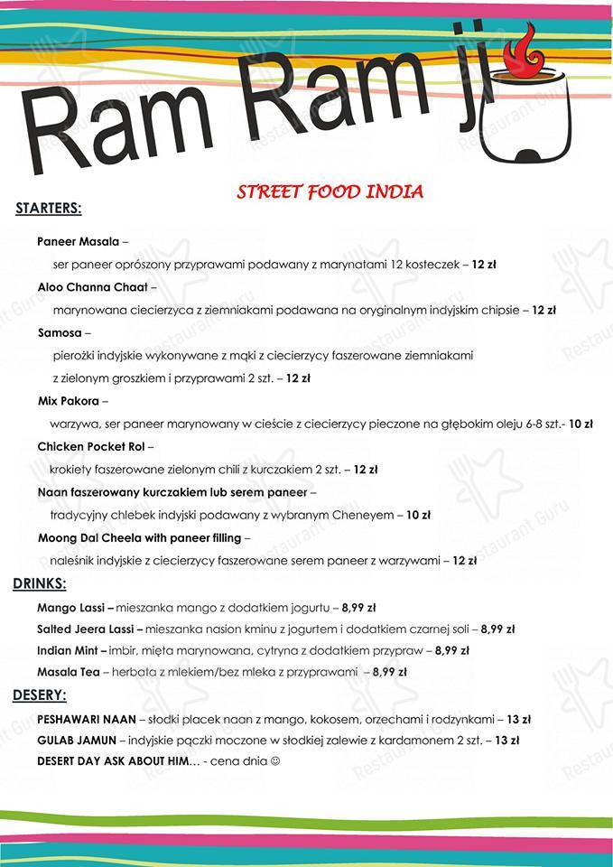 Check out the menu for Ram Ji Indian Street Food